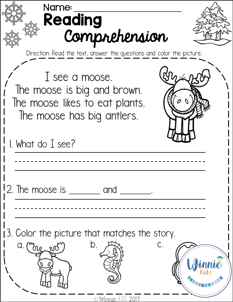 - Kindergarten Reading Comprehension Passages - Winter
