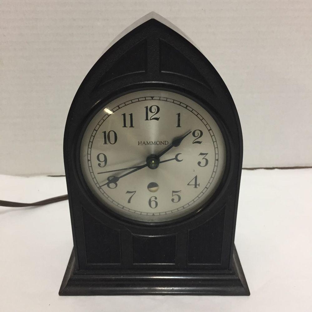 Vintage Hammond Clock Art Deco Cathedral Brown