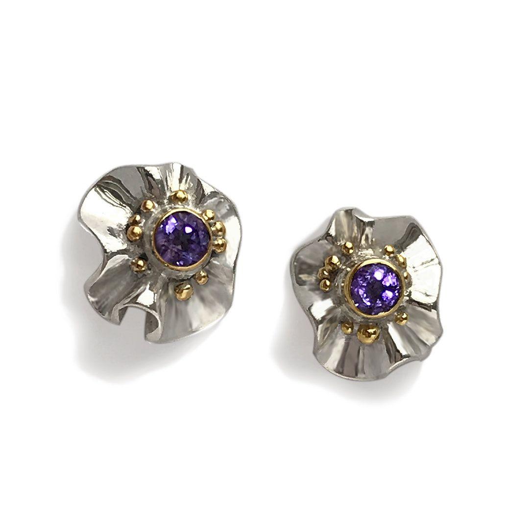 Silver Gold Gemstone earrings Modern designer jewellery
