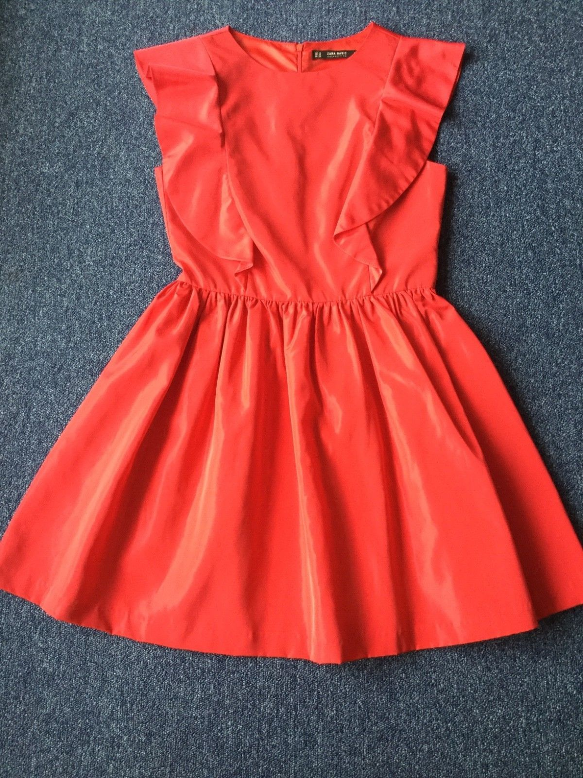 Woman red flannel outfits  Zara Basic Collection Womens Dress Size XS Red Boat Neck C