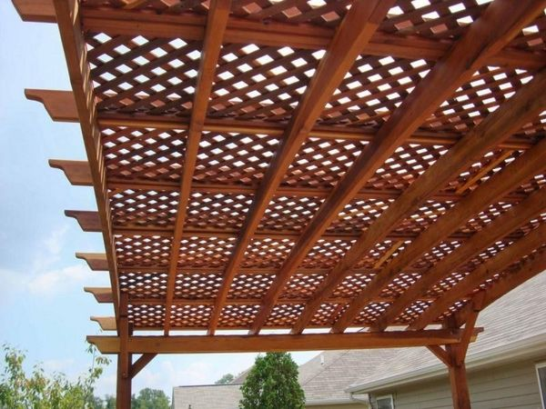 Pergola Canopy Ideas Patio Deck Shade Arched Pergola Lattice Cover In