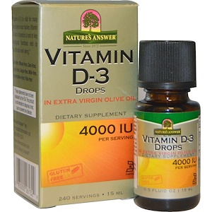 Nature S Answer قطرات فيتامين د 3 4000 وحدة دولية 0 5 أونصة سائلة 15 مل Vitamins Vitamin D Vitamins And Minerals