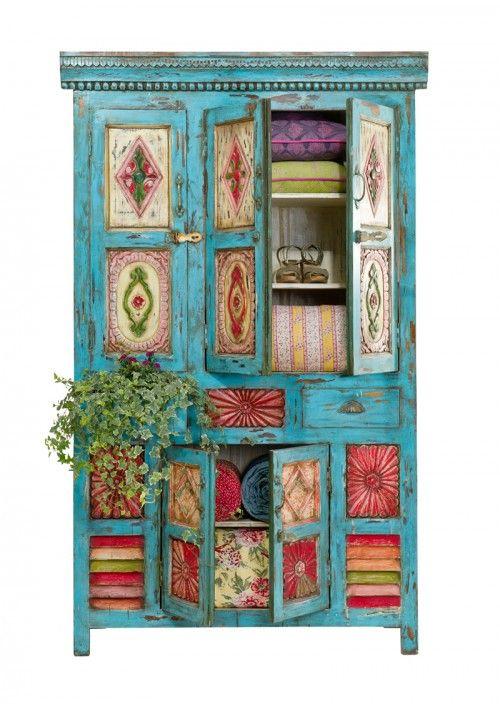 Multi-door, blue cabinet.