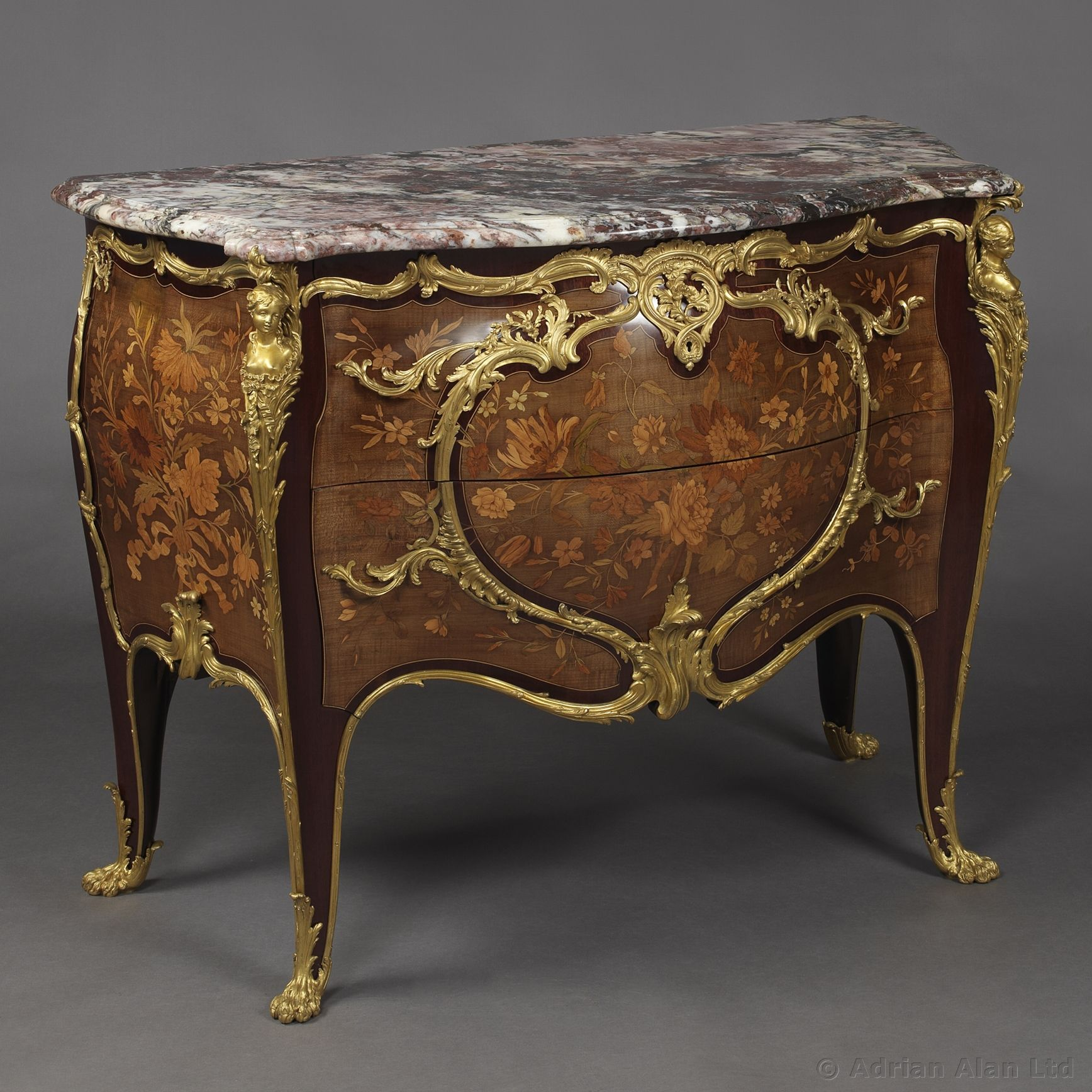 A Fine Louis XV Style Gilt-Bronze Mounted Purpleheart and Marquetry #Commode With A Brèche Violette Marble Top, By Joseph-Emmanuel #Zwiener - #adrianalan #antique