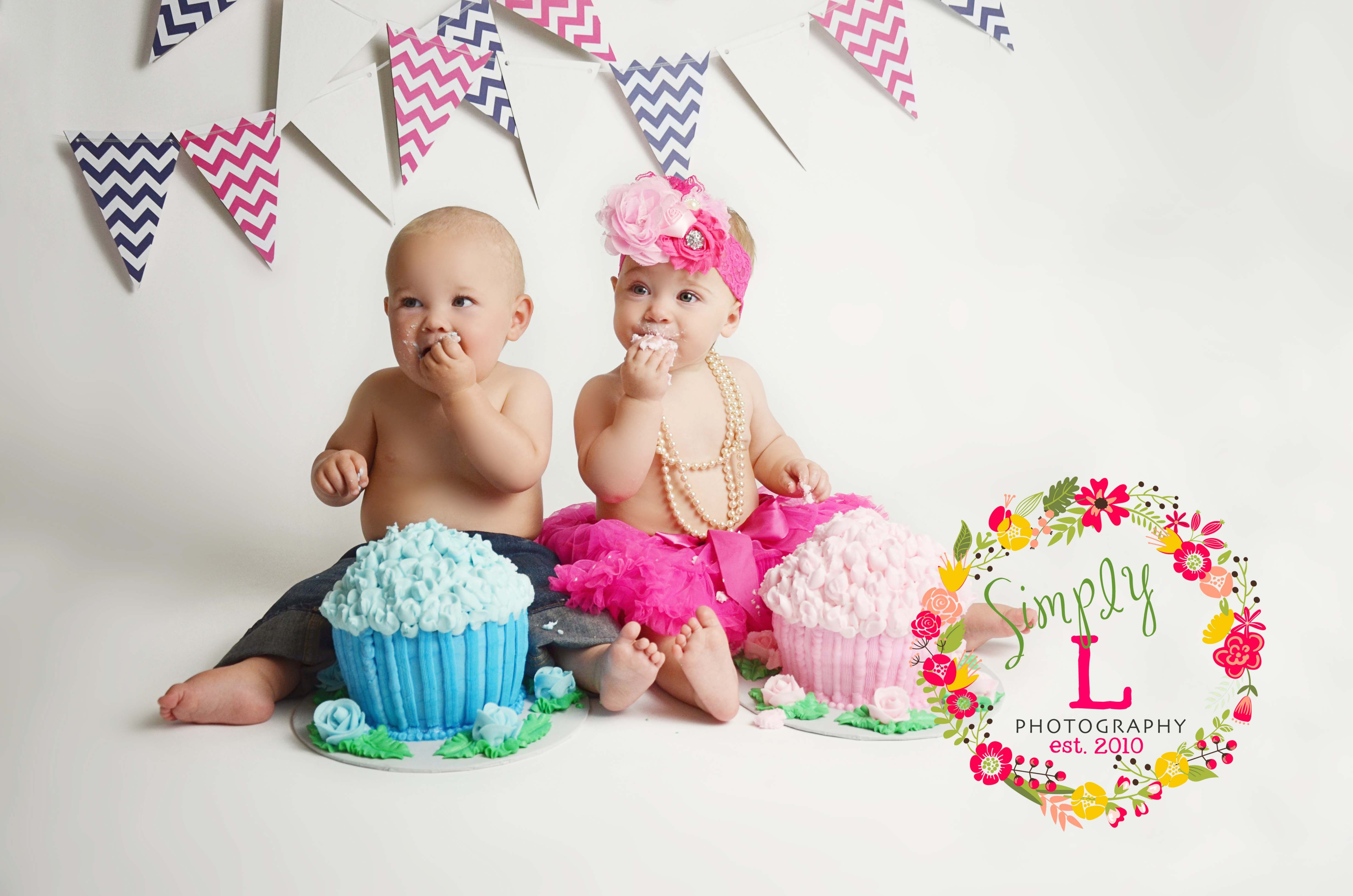 Magnificent Twin Boy And Girl Cake Smash Photography Montgomery Al 1 With Birthday Cards Printable Inklcafe Filternl
