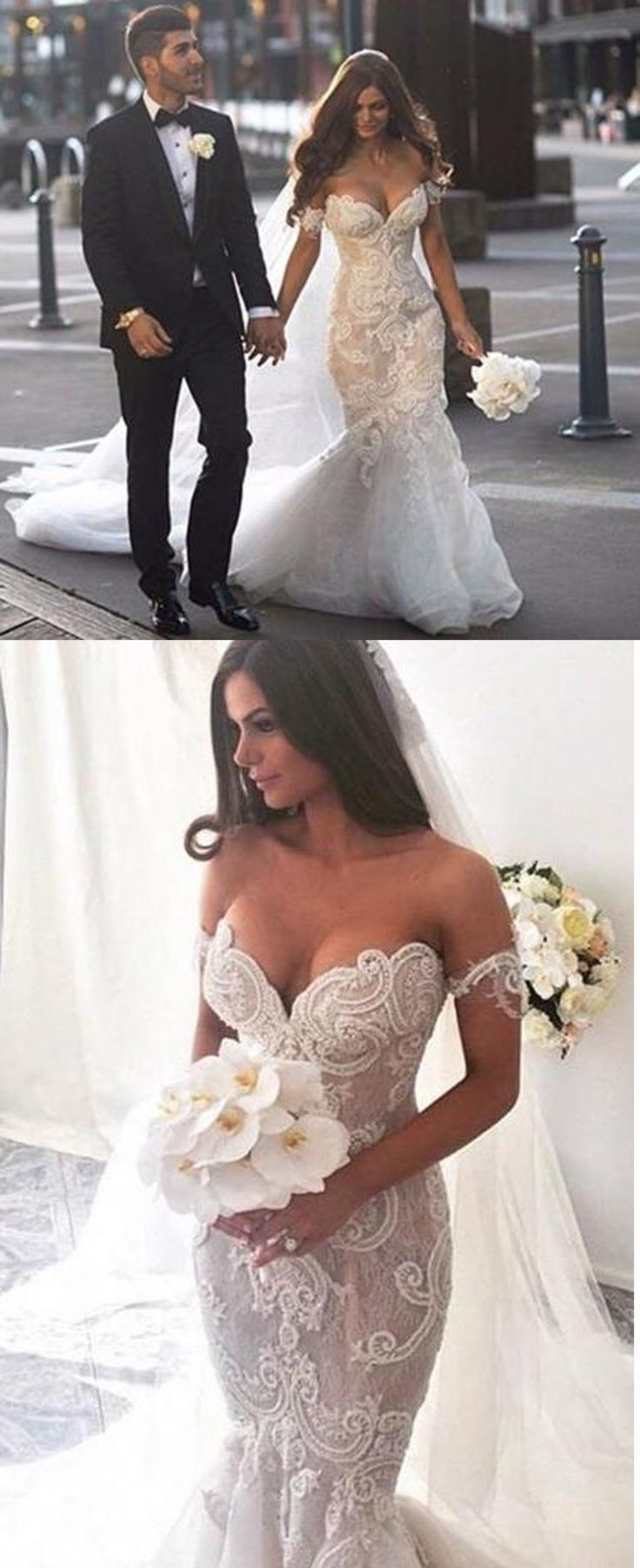 Beach wedding dresses mermaid style  vintage v neck lace boho style wedding dresses  Love  Pinterest
