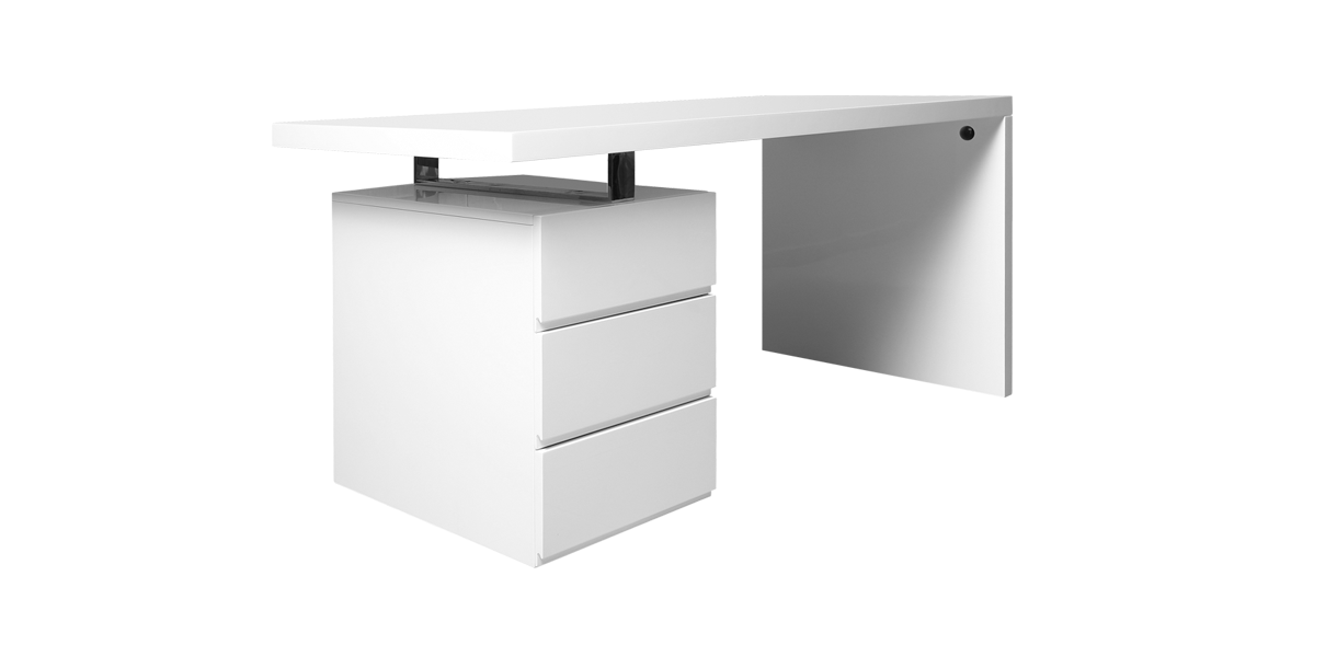 Lenox Modern White Office Desk With Three Drawers Modanifurniture