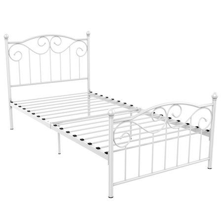 Topeakmart Single Bed Frame Metal Twin Bed Frame White Walmart