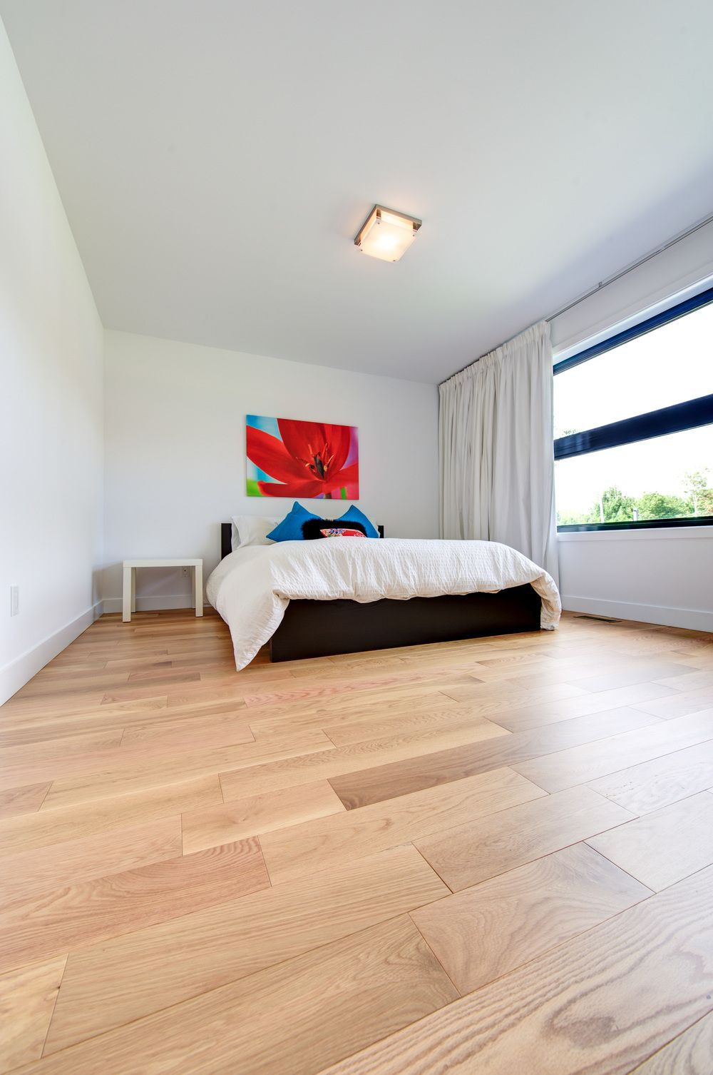 Wide plank red oak floor bedroom Red Oak Flooring for
