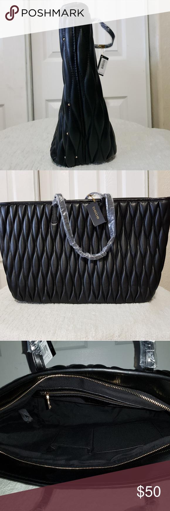 29dc799bca BEBE Diamanda Quilt Tote Diamond-quilted faux leather exterior, inset zip  top closure, , interior zip and slip pockets 16