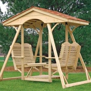 Exquisite Wooden Patio Swing Set With Cover To Add More Comfort In