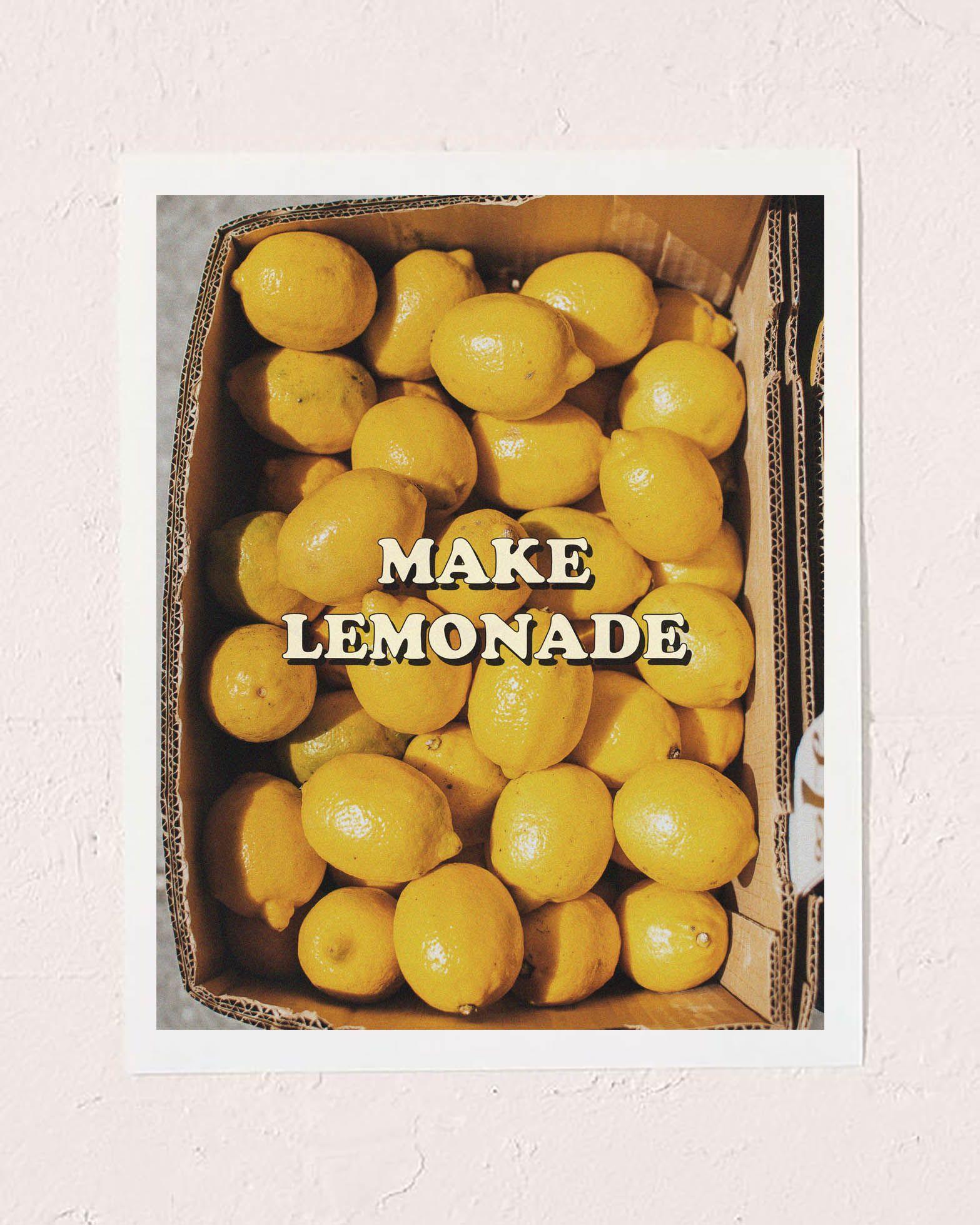 Make lemonade lemon wall art print #wallart #artprint #roominspo