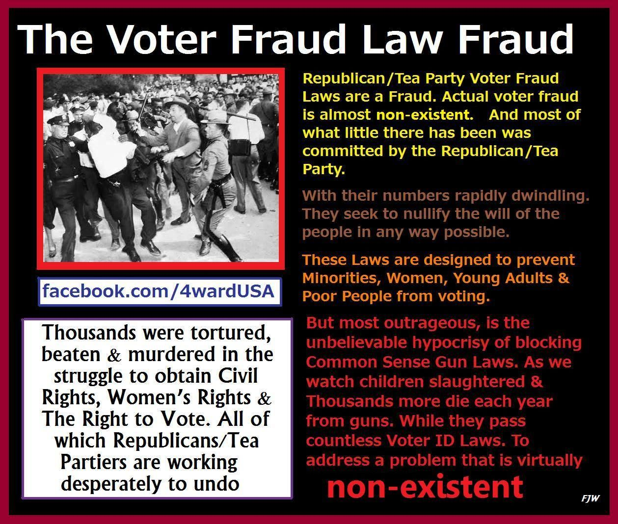 The Voter Fraud Law Fraud.... They WASTE TIME With this bs when they NEED to be presenting us at the very least with JOB BILLS!!!!