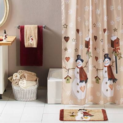 Find This Adorable Snowman Shower Curtain Bath Accessories In