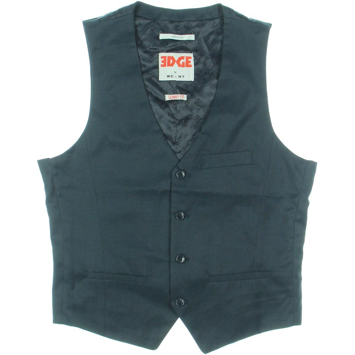Edge by WD-NY Mens Skinny Fit Satin Suit Vest