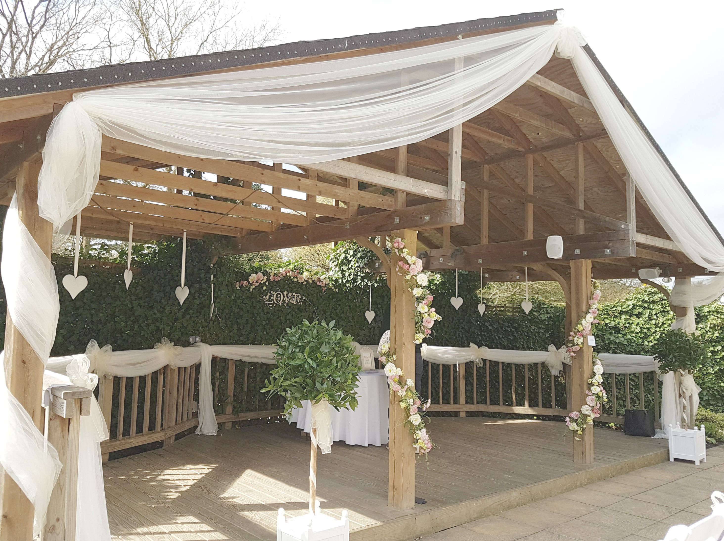 Our Lovely 46ft Artificial Bay Laurel Trees Define The Entrance To This Beautiful Wedding Venue