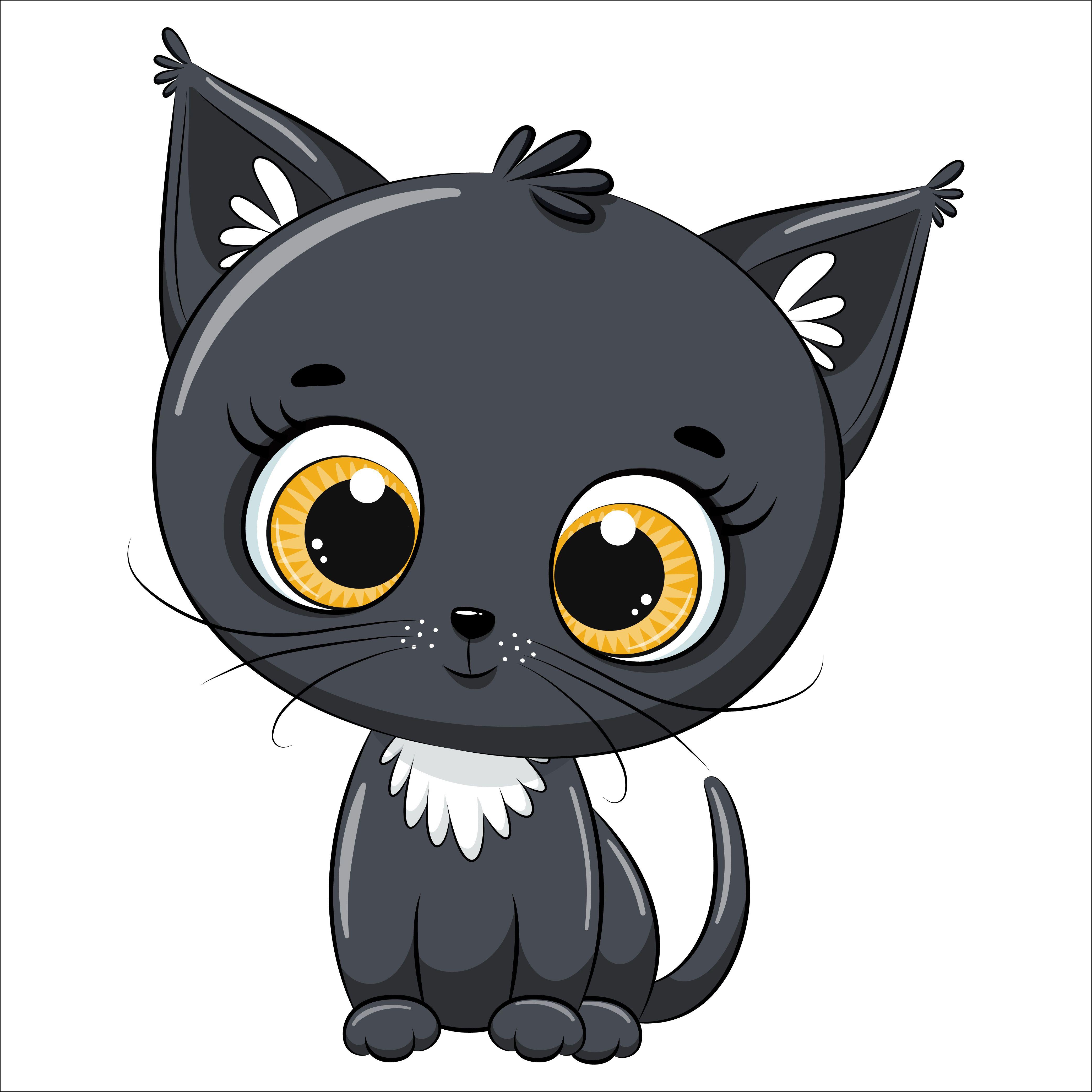 Cute Kitten Clipart Pet Illustration Png Eps Jpg Kids Etsy Cute Drawings Clip Art Cat Drawing