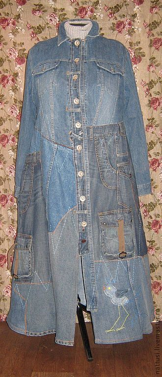 """Купить Джинсовый плащ бохо """"Синие птички"""" - тёмно-синий, абстрактный, джинса, большой размер, плащ"""