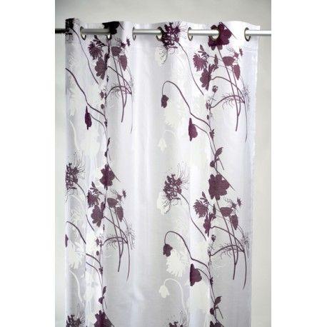 voilage blanc avec motif nature 140 x 240 prune rideaux. Black Bedroom Furniture Sets. Home Design Ideas