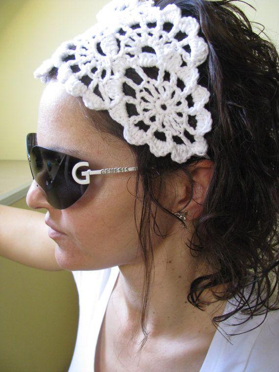 Crochet HeadBand - Hand Crochet Hairband - Women\'s Bandana - Crochet ...
