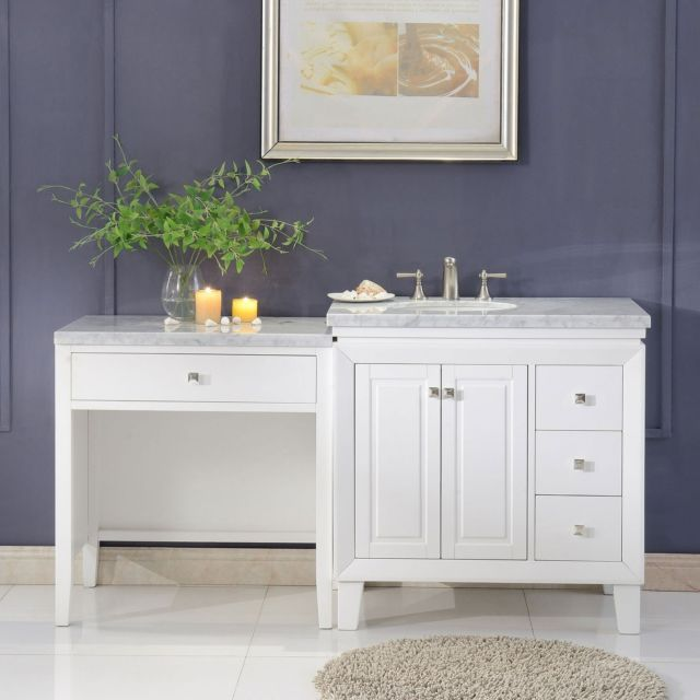 67 Inch Carrara Marble Top Bathroom Single Sink Cabinet W Vanity Table 0320wl