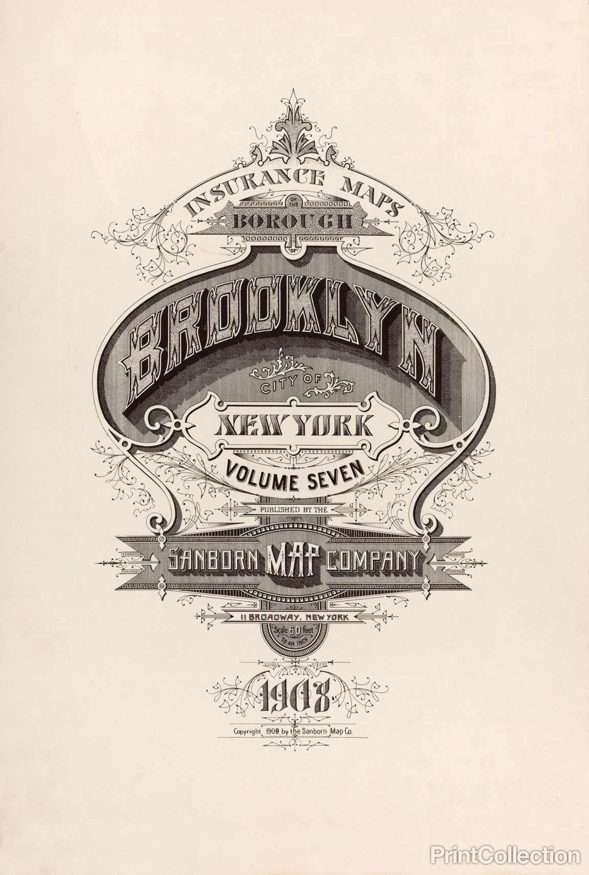Print Collection Brooklyn Fire Insurance Map Shrifti Grafika Diti
