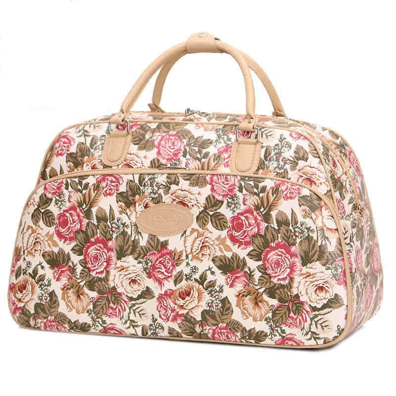 New Arrival Fashion Women Luggage Handbag Large Capacity Fl Print Travel Bag Tote Duffle Pt797
