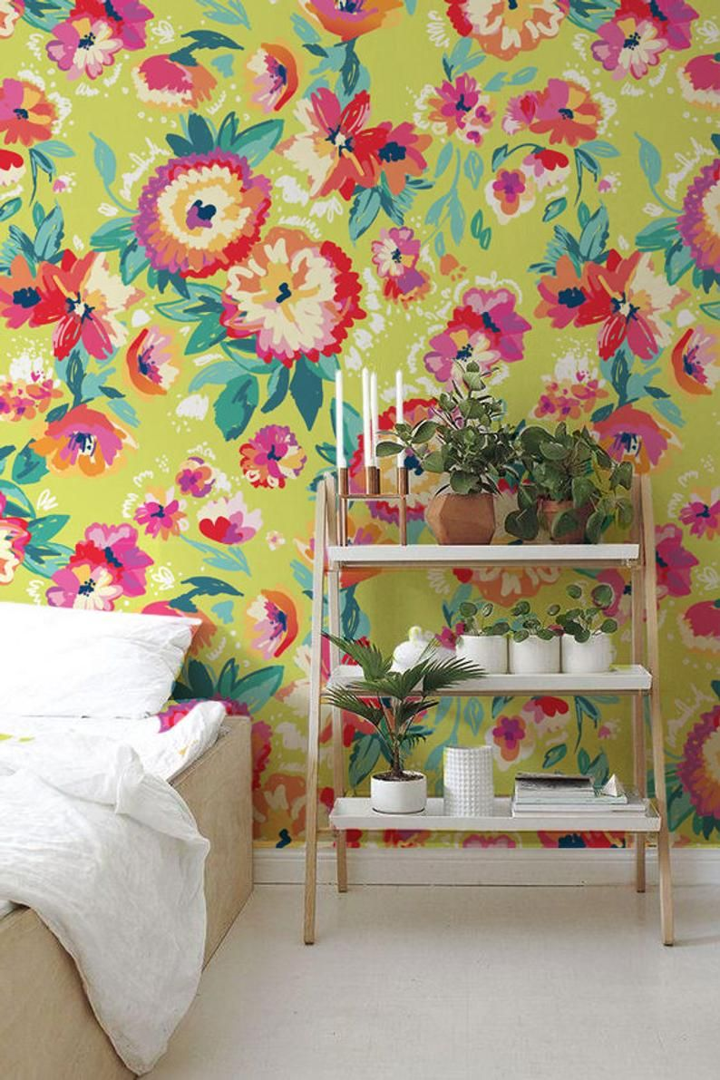 Bright Floral Wallpaper Adhesive Flowers Wallpaper Garden Etsy Floral Wallpaper Wall Murals Yellow Wallpaper