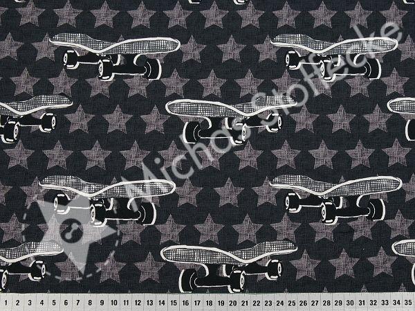 Stoff Baumwolle Jersey Skateboard Sterne Sneakers grau blau rot weiß Kinderstoff