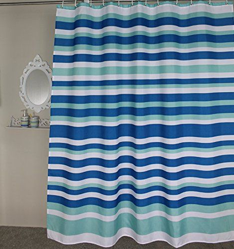 Amazon Welwo Blue White Horizontal Striped Stripes Stall Shower Curtain 36 X