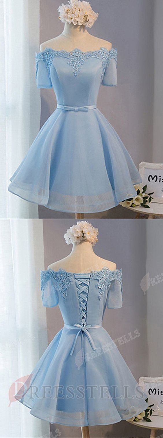 Aline offtheshoulder aboveknee blue tulle homecoming dress with