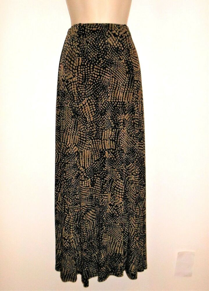 2fd5c218d3f Chicos Travelers Maxi Skirt 1 M 8 Black Brown Animal Print Stretch Knit  Slinky  Chicos  MaxiSkirt