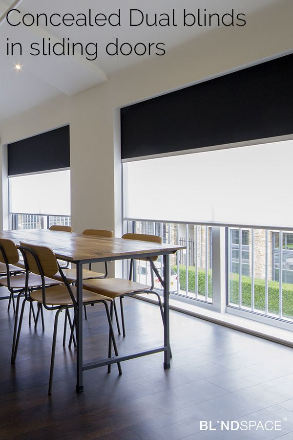 Bamboo Sliding Panel Track Blinds: Concealed Dual Blinds In Sliding Doors. Sheer Blind For