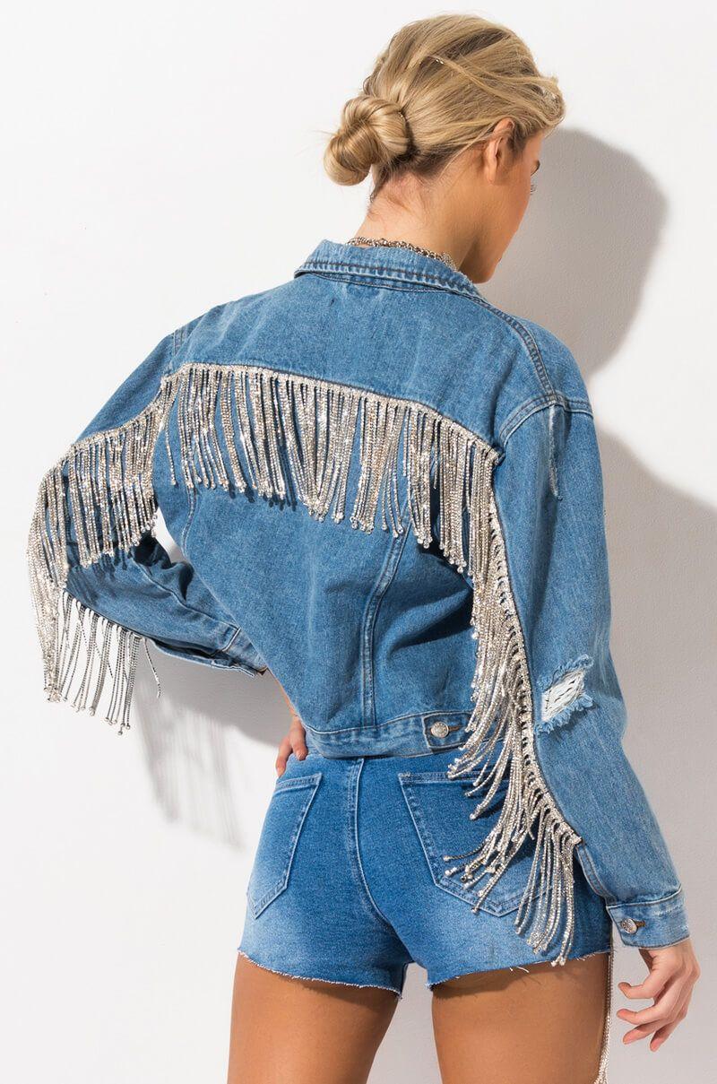 No 1 Stunner Long Rhinestone Fringe Denim Jacket Embellished Denim Jacket Long Sleeve Denim Jacket Denim Jacket [ 1209 x 800 Pixel ]