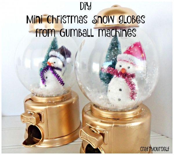 Mini Christmas Snow globes from Gumball machines Gumball machine