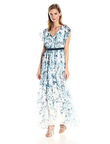 fe96cced66f Adrianna Papell Womens Floral Cascade Maxi BlueMulti 8     Want to know  more
