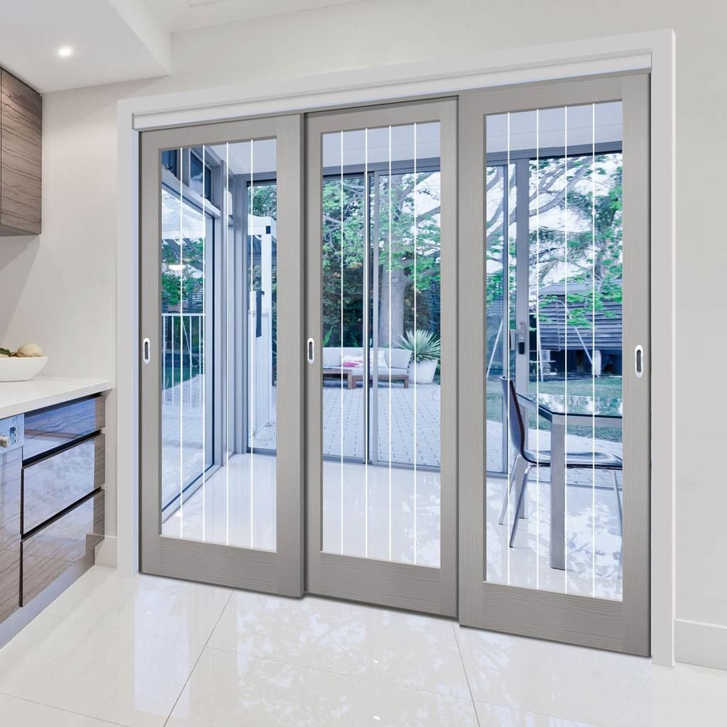 Three Sliding Doors And Frame Kit Textured Vertical 1 Light Grey Door Clear Glass Frosted Lines Grey Doors Sliding Doors Clear Glass