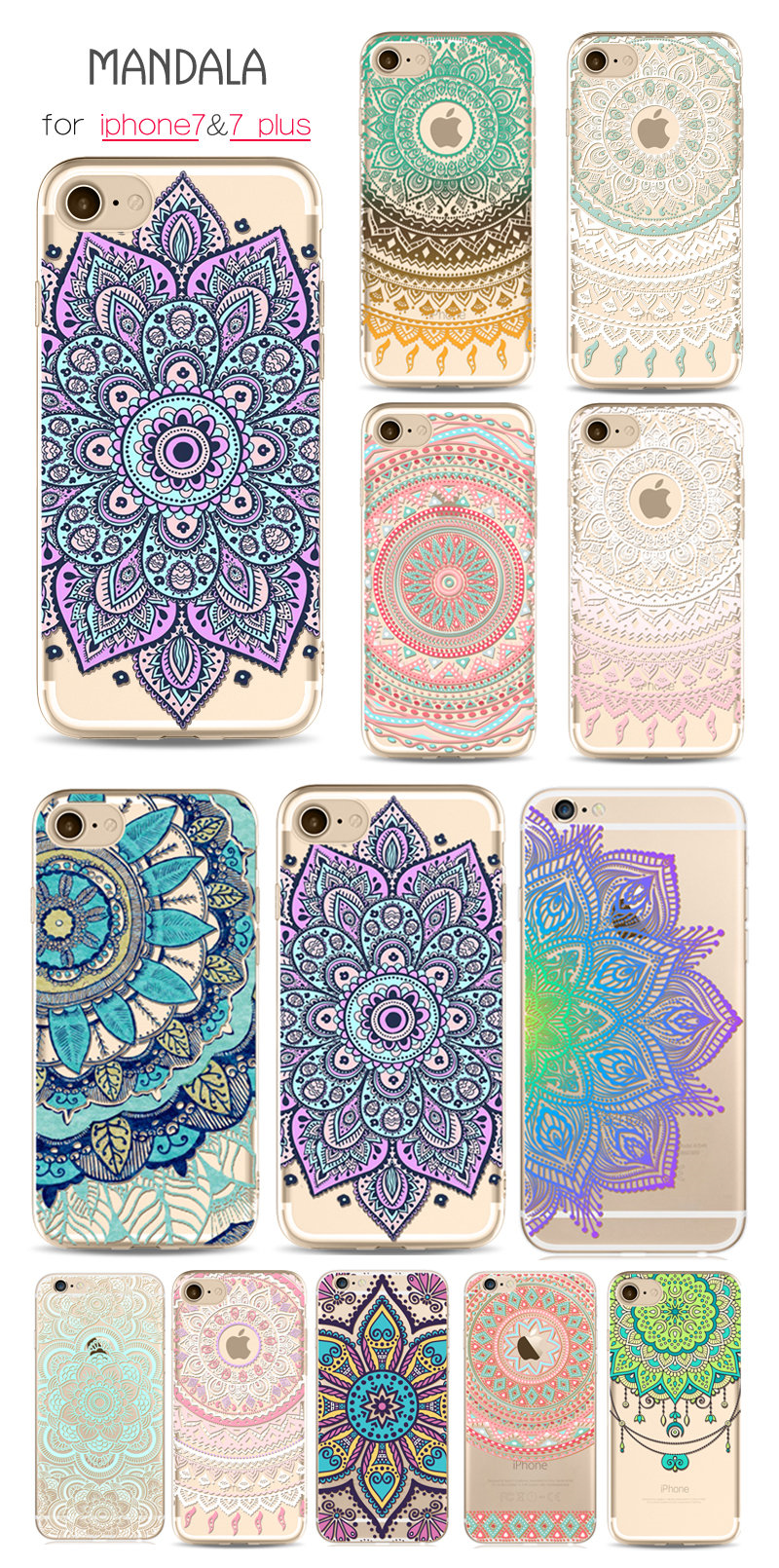 Mandala soft tpu phone cases for iphone 7 plus 6 6s 5 for Design a case