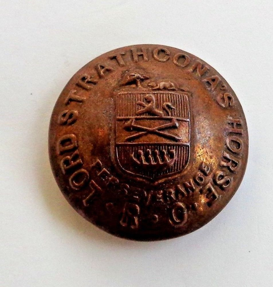 Vintage Lord Strathcona's Horse Brass Button Royal Canadian Armoured Regiment