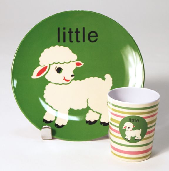 Little Lamb Plate Cup Set Kids Plates Kids Melamine Plates Lamb