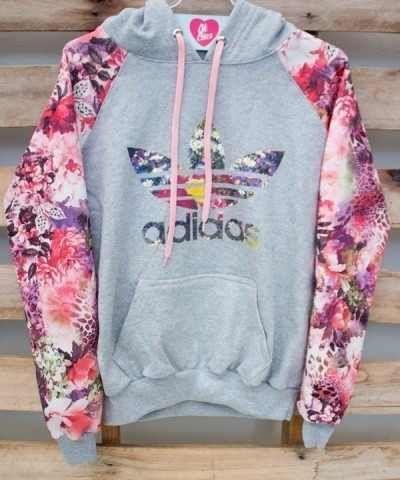 1ab8ac63f moletons femininos Adidas cinza com estampa   roupas de friu ...