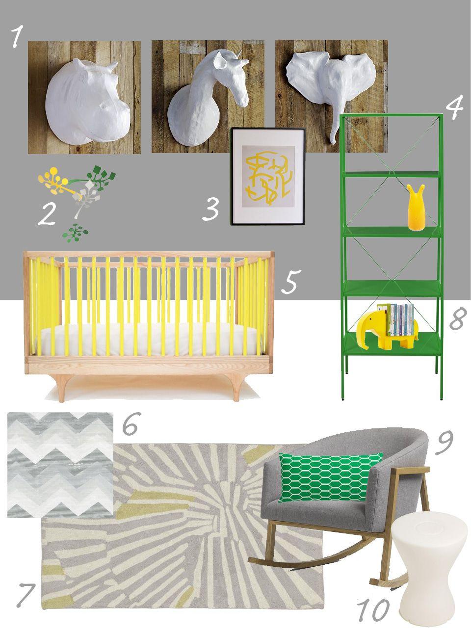 My Modern Nursery #55: Gray & Yellow and Green   Baby boy ...