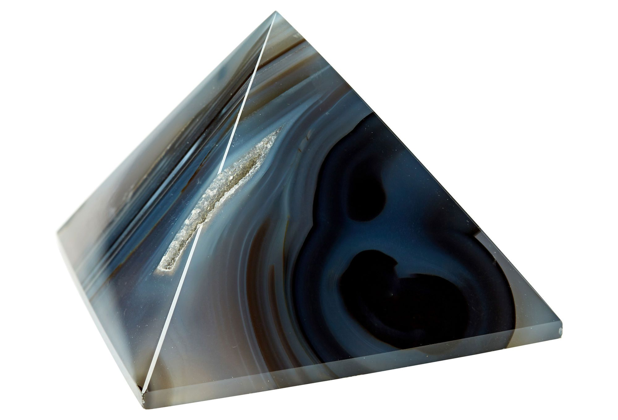 One Kings Lane - Wit & Whimsy - Stone Paperweight, Agate Pyramid, Nat