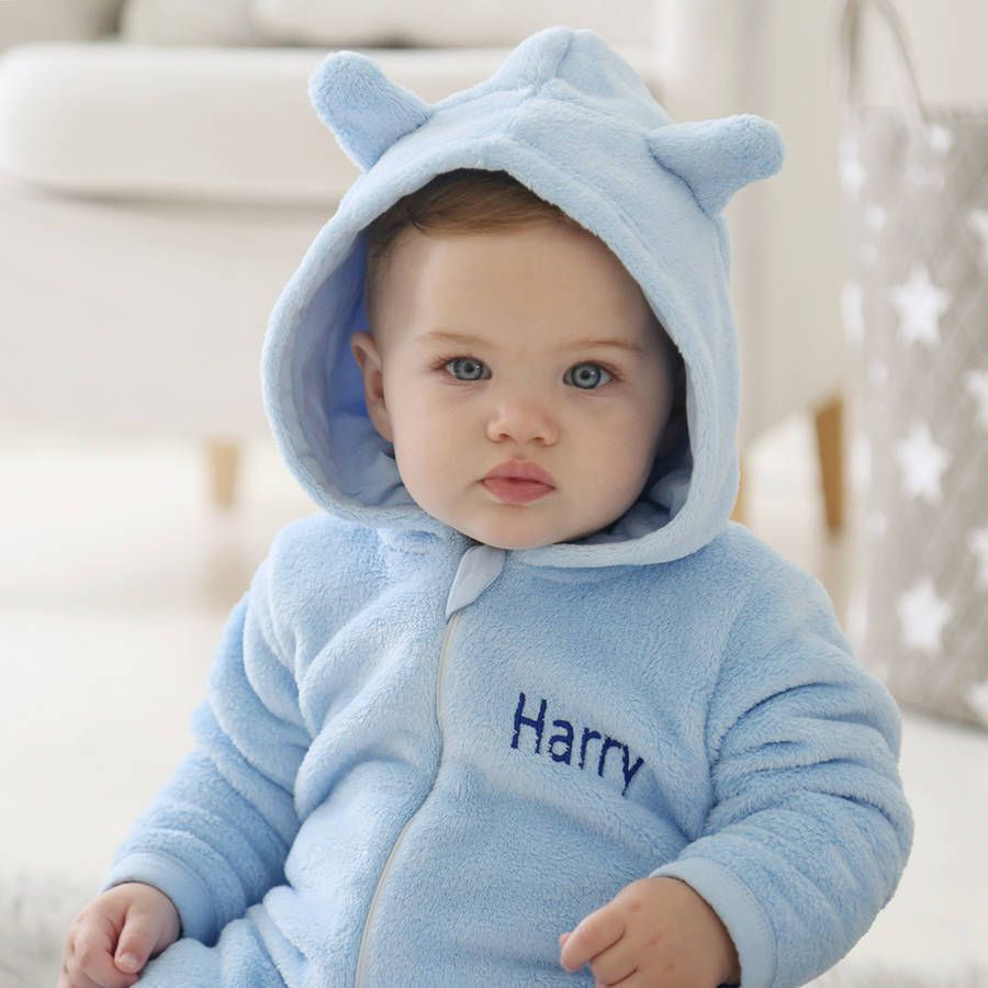 bc3c066a97e5 My 1st Years Personalised Bear Fleece Onesie Blue
