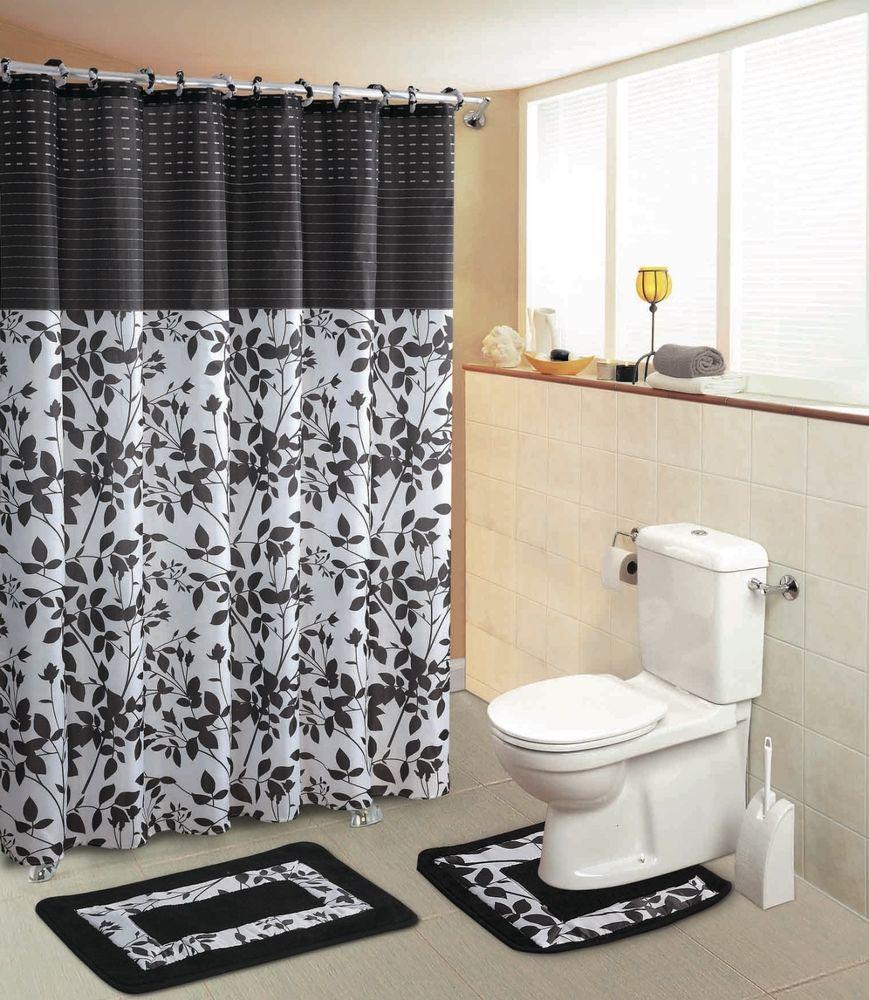 Shadow Vine Black White Floral 15 Piece Set Shower Curtain Bath