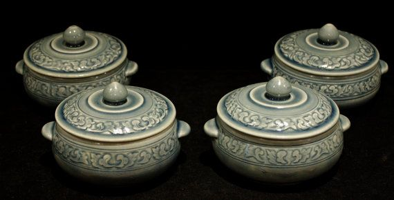 Siam Celadon Asian Pottery - 4 Covered Bowls - Hand Made in Thailand