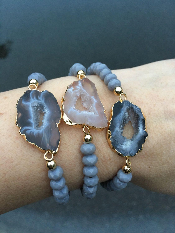 Druzy Geode Bracelets Boho Jewelry Agate Sliced