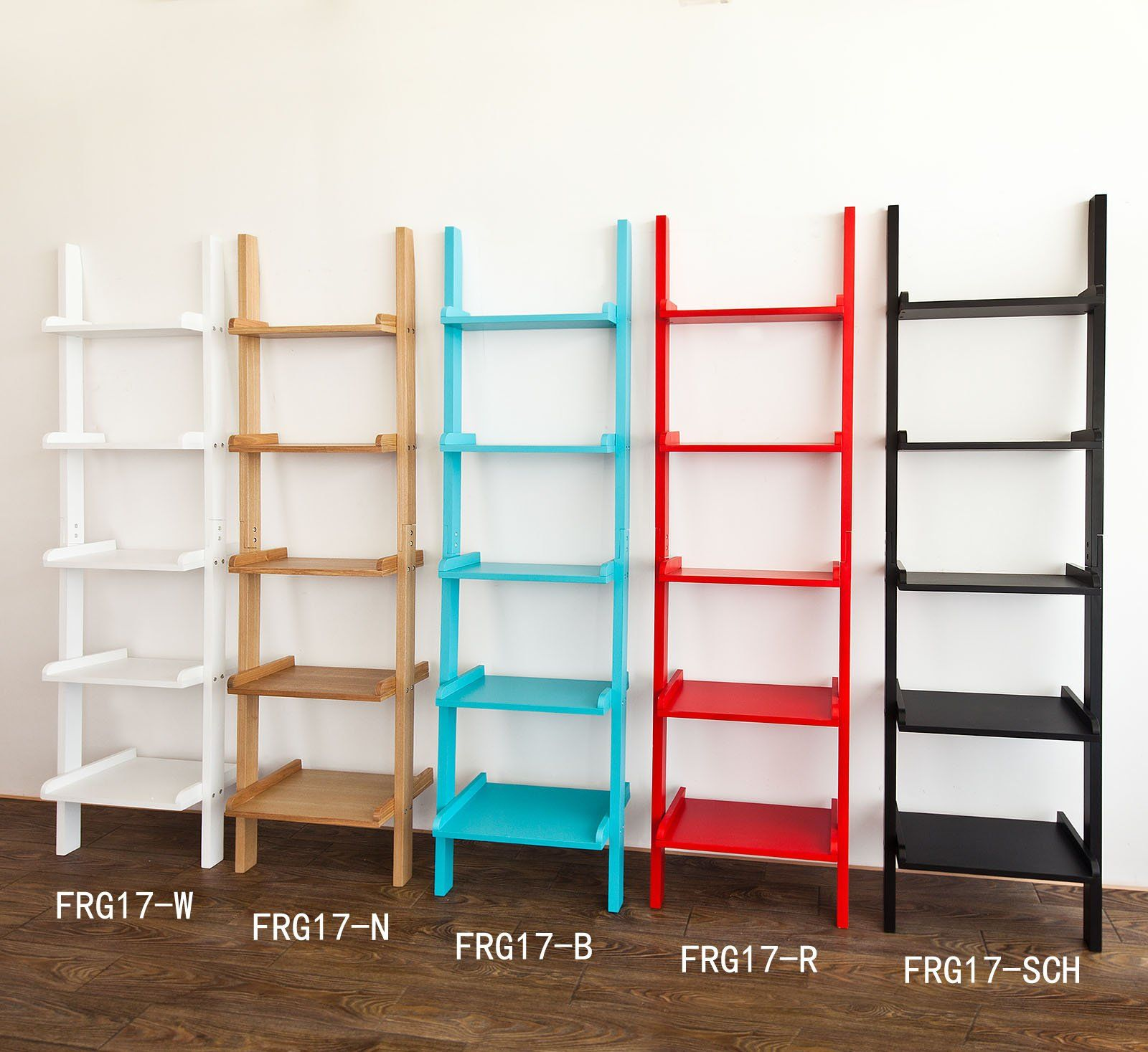 so modern ladder shelf made of wood with five floors stand
