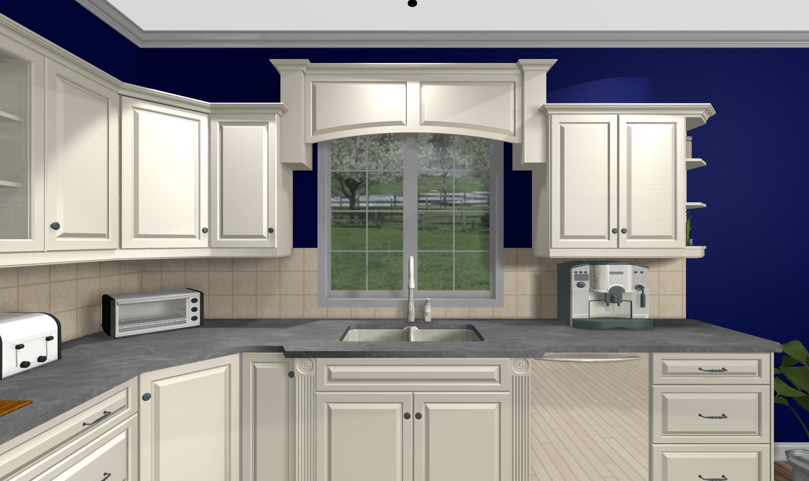 Over the sink kitchen window treatments  wood valance over sink and blue walls  for the home  pinterest