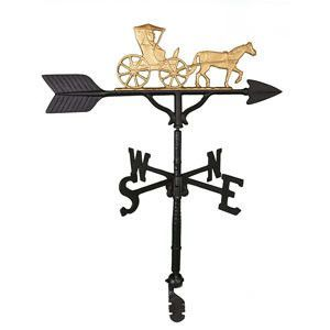 "Features:  -Weathervane.  -Hand cast in rust free aluminum.  -Fits most pitched roofs or cupolas.  -Use on a 24"" - 30"" cupola, 2 car garage or medium size home.  -Base and arrow finish: Satin Black."